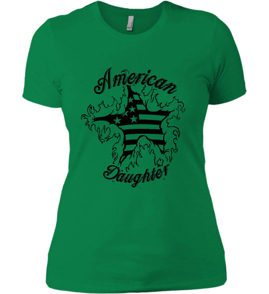 American Daughter. Women's Patriot Design. Women's: Next Level Ladies' Boyfriend (Girly) T-Shirt.-12