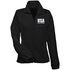 USA. All Day. Everyday. White Text. Women's: Harriton Women's Fleece Jacket. (Embroidered)