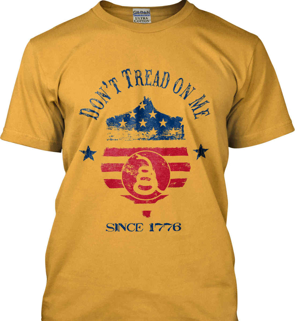 Don't Tread on Me. Snake on Shield. Red, White and Blue. Gildan Ultra Cotton T-Shirt.-2