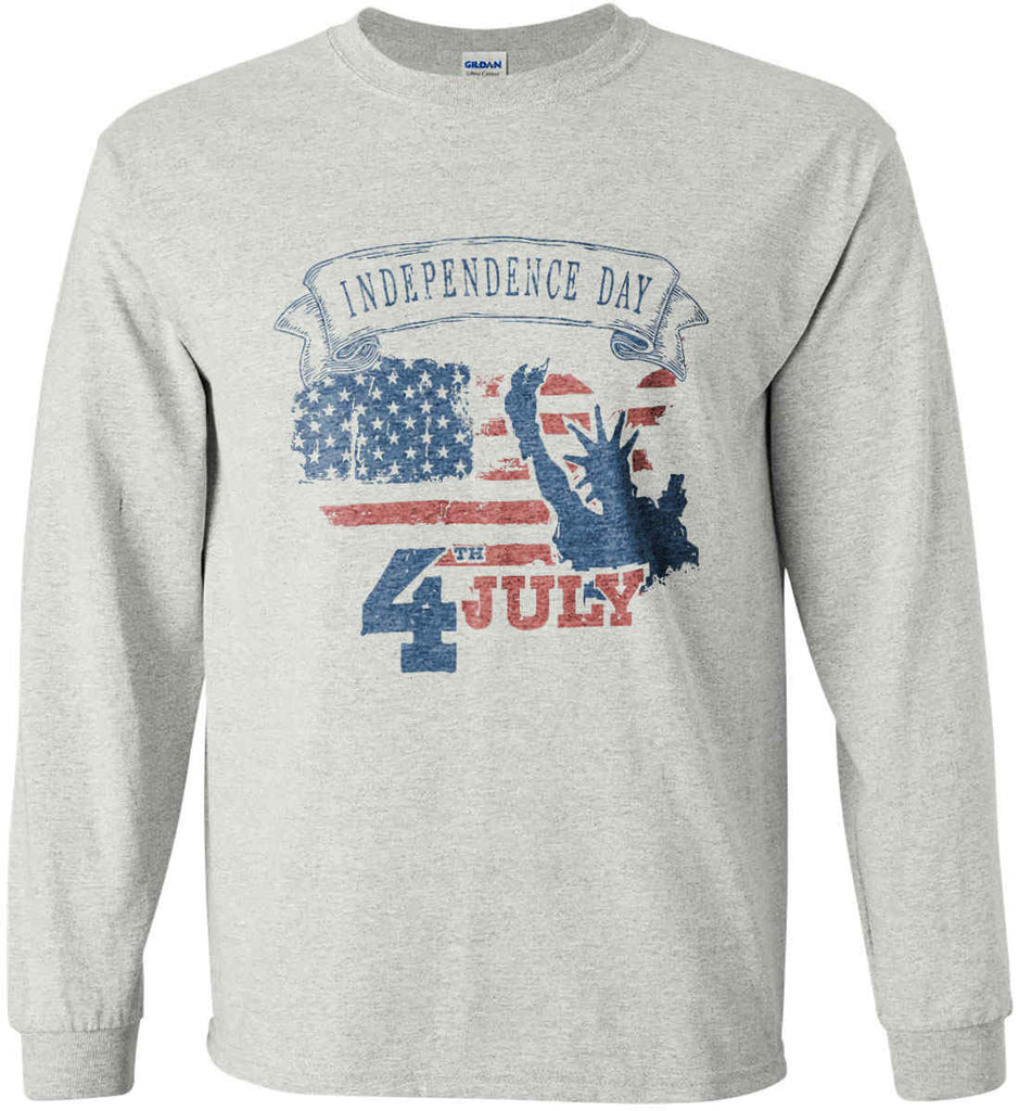 4th of July. Faded Grunge. Statue of Liberty. Gildan Ultra Cotton Long Sleeve Shirt.-2