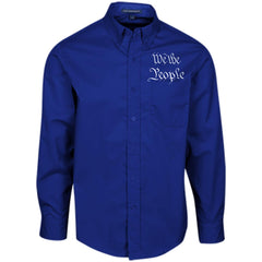 We the People. White Text. Port Authority Men's LS Dress Shirt. (Embroidered)