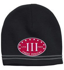 Three Percenter. Live Free. Hat. Sport-Tek Colorblock Beanie. (Embroidered)