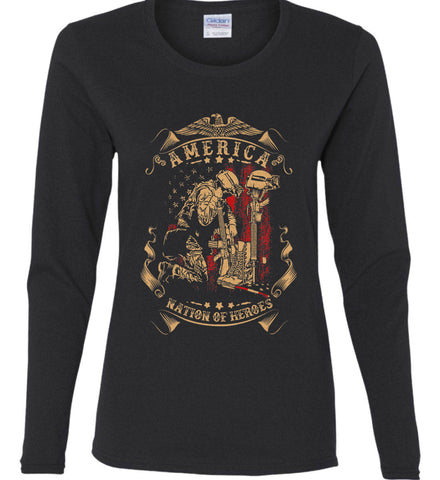 America A Nation of Heroes. Kneeling Soldier. Women's: Gildan Ladies Cotton Long Sleeve Shirt.