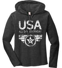 USA All Day Everyday. White Print. Women's: Anvil Ladies' Long Sleeve T-Shirt Hoodie.