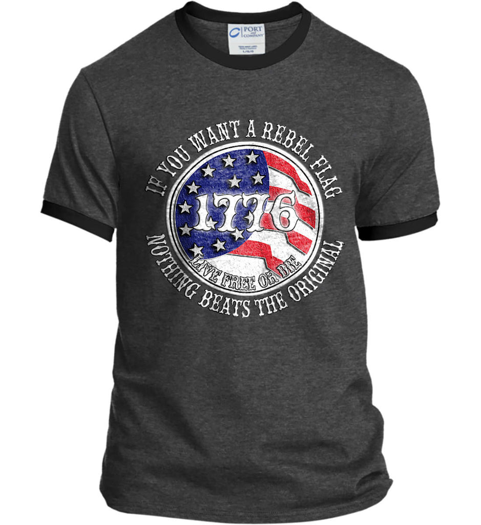 If you want a rebel flag. Nothing beats the original. Port and Company Ringer Tee.-1