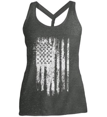 Grungy Grey USA Flag Women's: District Made Ladies Cosmic Twist Back Tank.