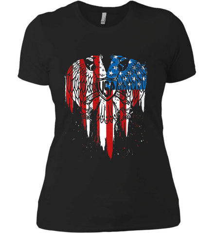 USA Eagle Flying High. Women's: Next Level Ladies' Boyfriend (Girly) T-Shirt.