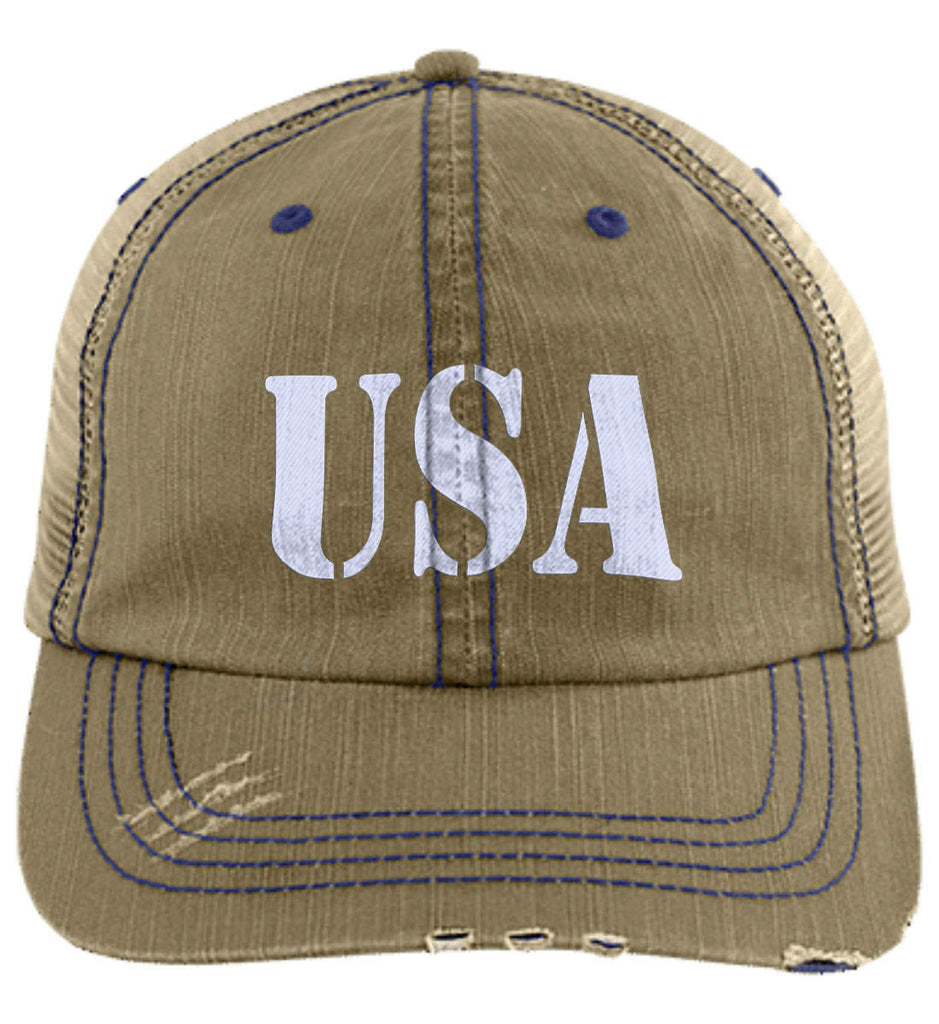 USA Patriot Hat Distressed Unstructured Trucker Cap. (Embroidered)-4