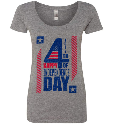 4th of July with Stars and Stripes. Women's: Next Level Ladies' Triblend Scoop.