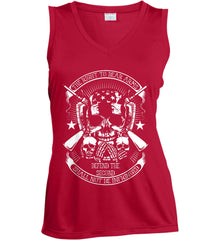 The Right to Bear Arms. Shall Not Be Infringed. Since 1791. White Print. Women's: Sport-Tek Ladies' Sleeveless Moisture Absorbing V-Neck.