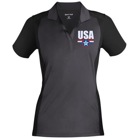 USA. Star-Shield. Red, White, Blue. Women's: Sport-Tek Ladies' Colorblock Sport-Wick Polo. (Embroidered)