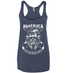 Did you America Today. 1776. Live Free or Die. Skull. White Print. Women's: Next Level Ladies Ideal Racerback Tank.