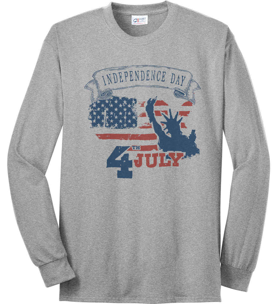 4th of July. Faded Grunge. Statue of Liberty. Port & Co. Long Sleeve Shirt. Made in the USA..-2