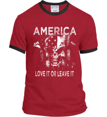 America. Love It or Leave It. White Print. Port and Company Ringer Tee.