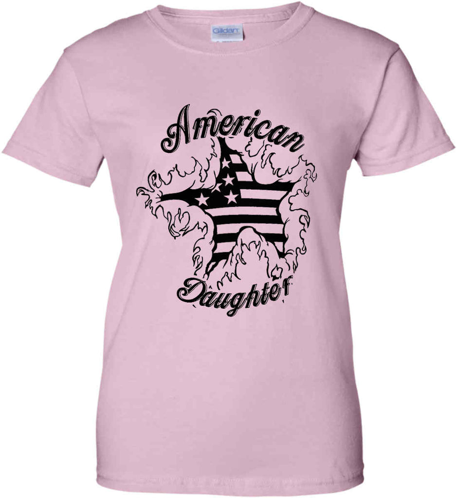 American Daughter. Women's Patriot Design. Women's: Gildan Ladies' 100% Cotton T-Shirt.-1