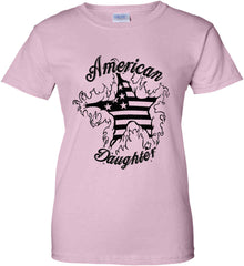American Daughter. Women's Patriot Design. Women's: Gildan Ladies' 100% Cotton T-Shirt.