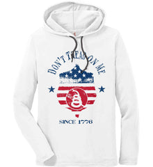Don't Tread on Me. Snake on Shield. Red, White and Blue. Anvil Long Sleeve T-Shirt Hoodie.