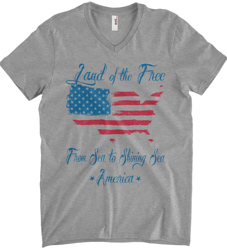 Land of the Free. From sea to shining sea. Anvil Men's Printed V-Neck T-Shirt.-1