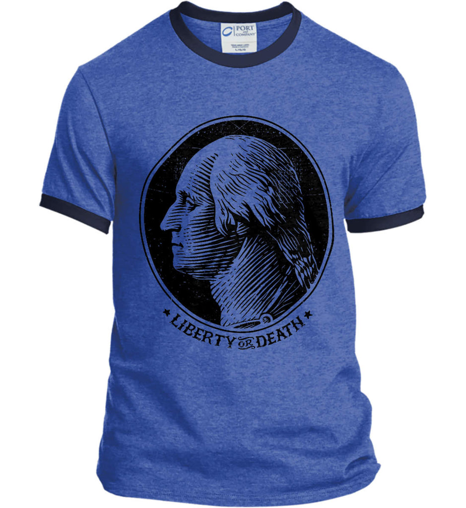 George Washington Liberty or Death. Black Print Port and Company Ringer Tee.-6