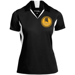 Molon Labe. Spartan Helmet. Yellow/Black. Women's: Sport-Tek Ladies' Colorblock Performance Polo. (Embroidered)