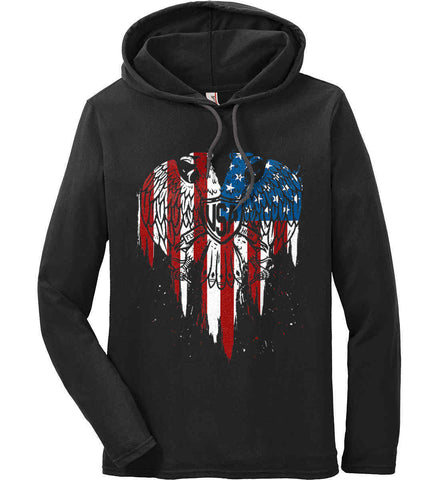 USA Eagle Flying High. Anvil Long Sleeve T-Shirt Hoodie.