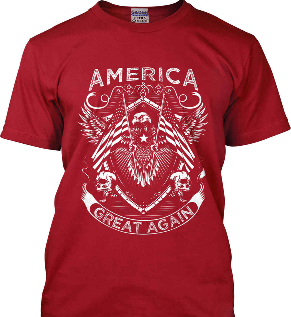 America. Great Again. White Print. Gildan Ultra Cotton T-Shirt.-4