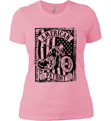 American Patriot - Flag/Rider. Black Print. Women's: Next Level Ladies' Boyfriend (Girly) T-Shirt.