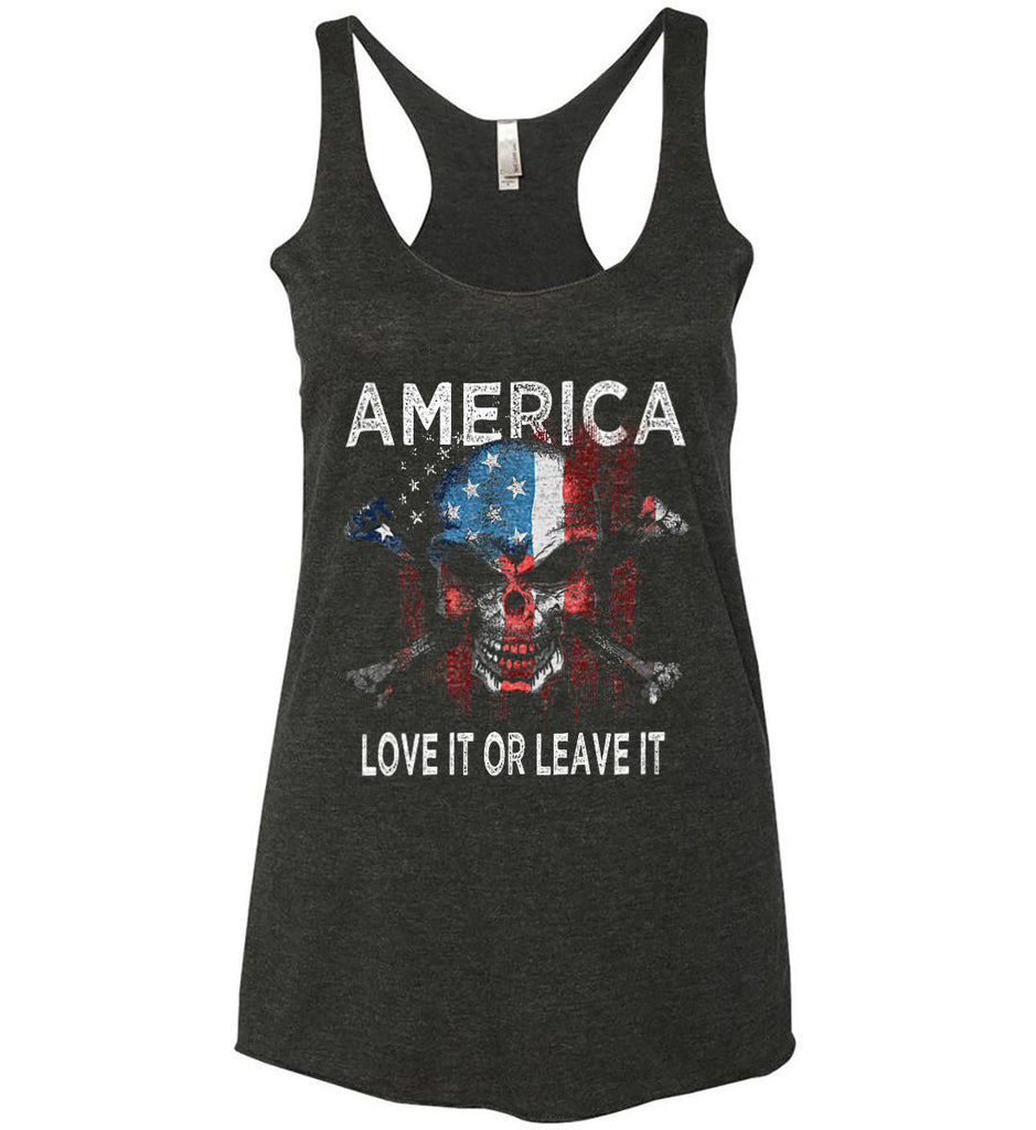 America. Love It or Leave It. Women's: Next Level Ladies Ideal Racerback Tank.-2