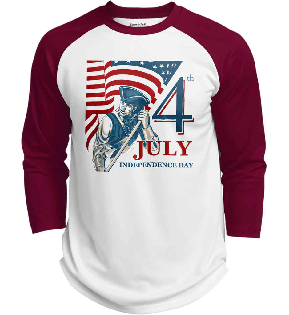 Patriot Flag. July 4th. Independence Day. Sport-Tek Polyester Game Baseball Jersey.-4