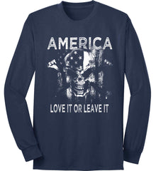 America. Love It or Leave It. White Print. Port & Co. Long Sleeve Shirt. Made in the USA..