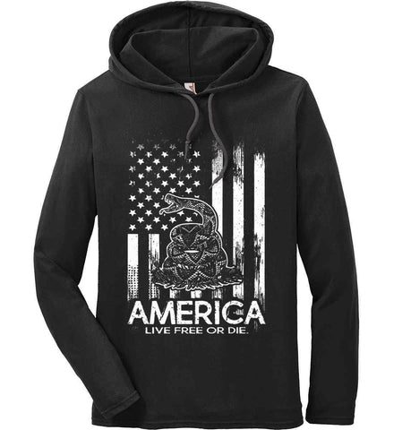 America. Live Free or Die. Don't Tread on Me. White Print. Anvil Long Sleeve T-Shirt Hoodie.