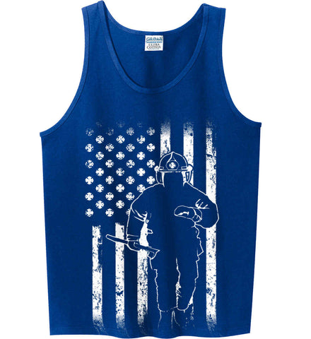 Firefighter American Flag. White Print. Gildan 100% Cotton Tank Top.