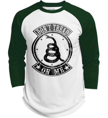 Don't Tread on Me. Grunge Shield. Black Print. Sport-Tek Polyester Game Baseball Jersey.