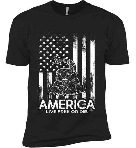 America. Live Free or Die. Don't Tread on Me. White Print. Next Level Premium Short Sleeve T-Shirt.