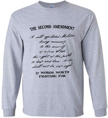 The Second Amendment. 27 Words Worth Fighting For. Second Amendment. Black Print. Gildan Ultra Cotton Long Sleeve Shirt.