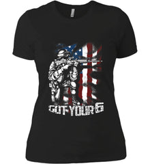 Got Your Six. Soldier Flag. Women's: Next Level Ladies' Boyfriend (Girly) T-Shirt.