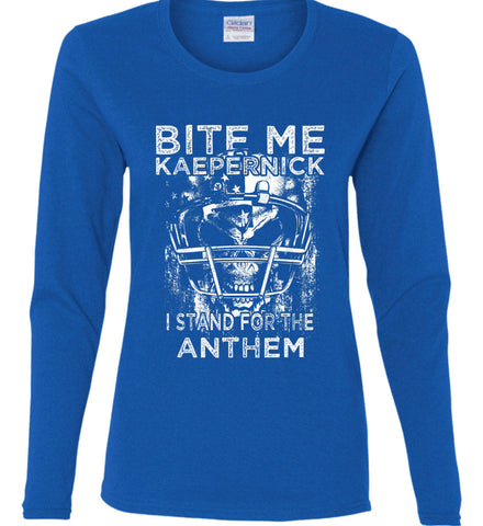 Kaepernick. I Stand for the Anthem. White Print. Women's: Gildan Ladies Cotton Long Sleeve Shirt.