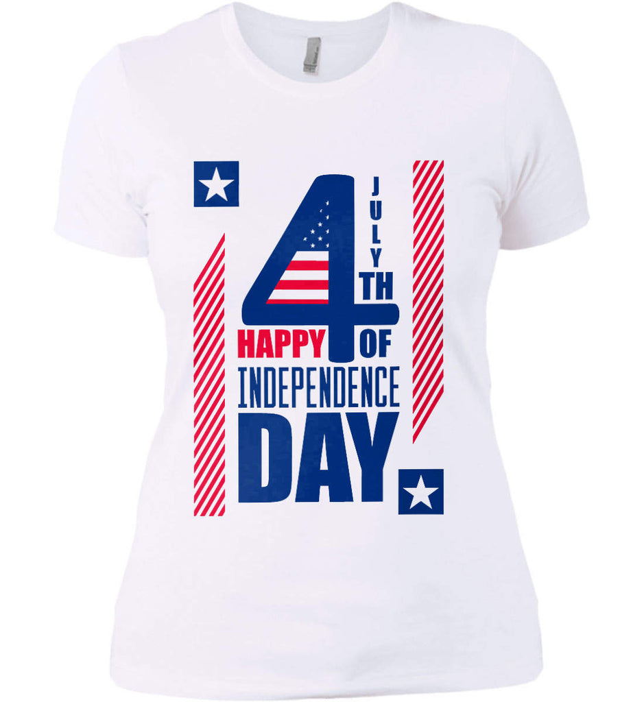 4th of July with Stars and Stripes. Women's: Next Level Ladies' Boyfriend (Girly) T-Shirt.-3