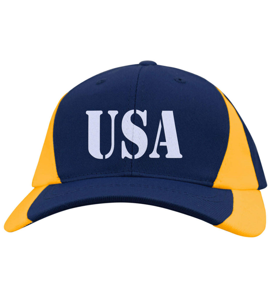 USA Patriot Hat Sport-Tek Mid-Profile Colorblock Cap. (Embroidered)-9