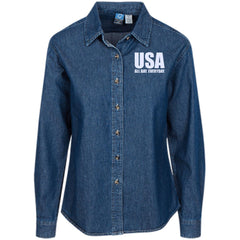 USA. All Day. Everyday. White Text. Women's: Port Authority Women's LS Denim Shirt. (Embroidered)