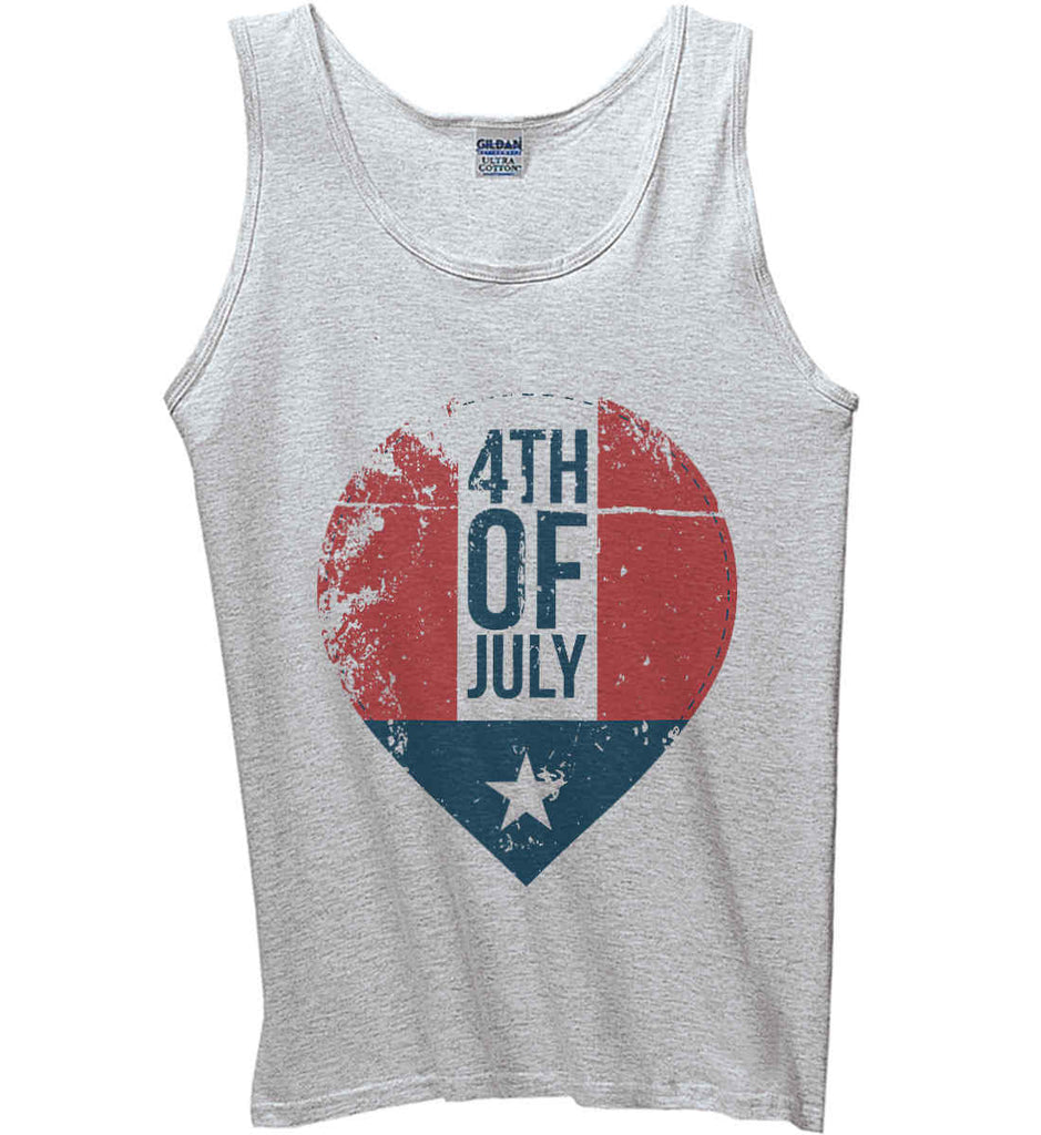 4th of July with Star. Gildan 100% Cotton Tank Top.-2