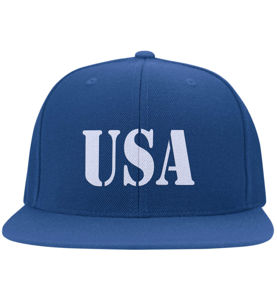 USA Patriot Hat Yupoong Flat Bill Twill Flexfit Cap. (Embroidered)-7