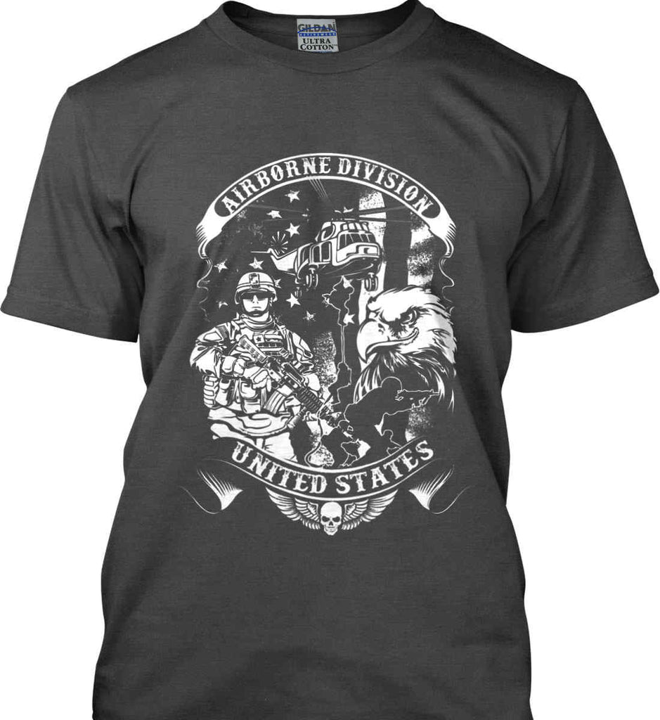 Airborne Division. United States. White Print. Gildan Ultra Cotton T-Shirt.-3