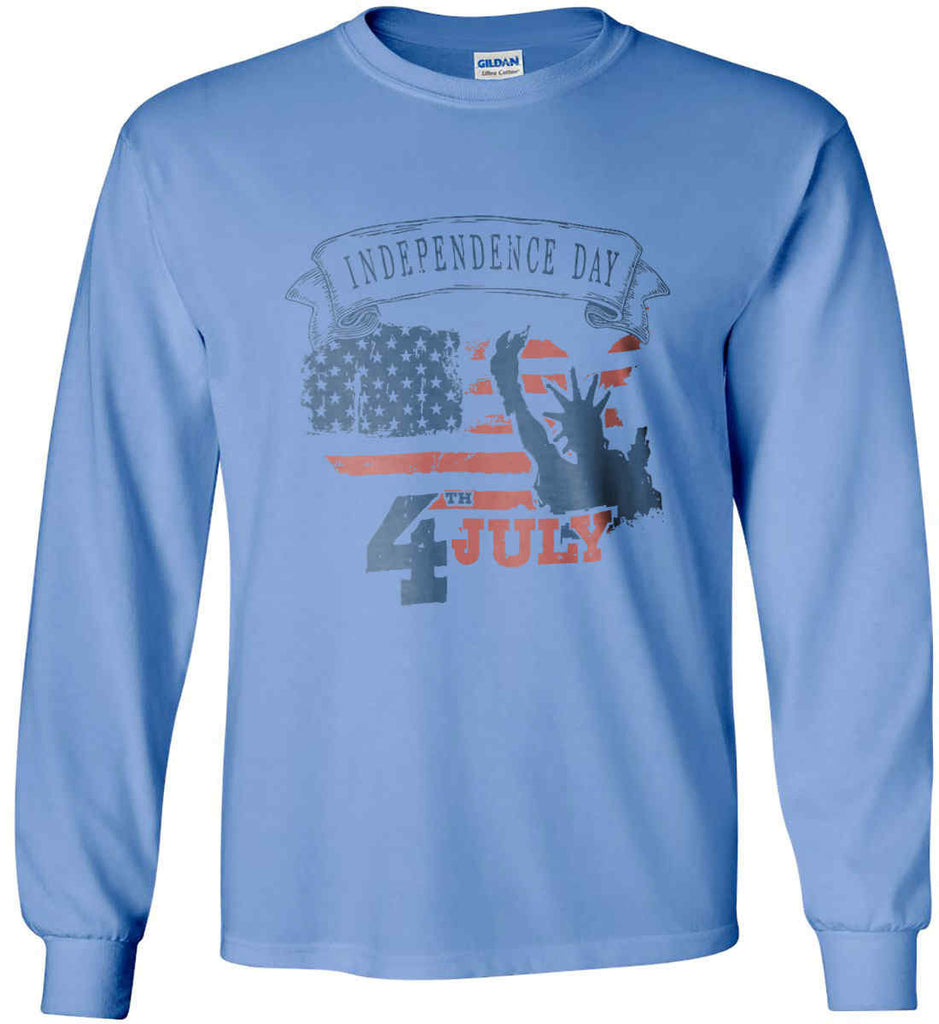 4th of July. Faded Grunge. Statue of Liberty. Gildan Ultra Cotton Long Sleeve Shirt.-7