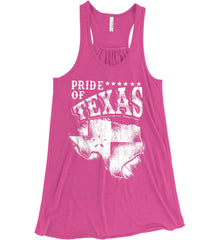Pride of Texas. Texas Flag. Be a proud Texan Patriot. White Print. Women's: Bella + Canvas Flowy Racerback Tank.