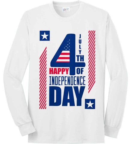 4th of July with Stars and Stripes. Port & Co. Long Sleeve Shirt. Made in the USA..