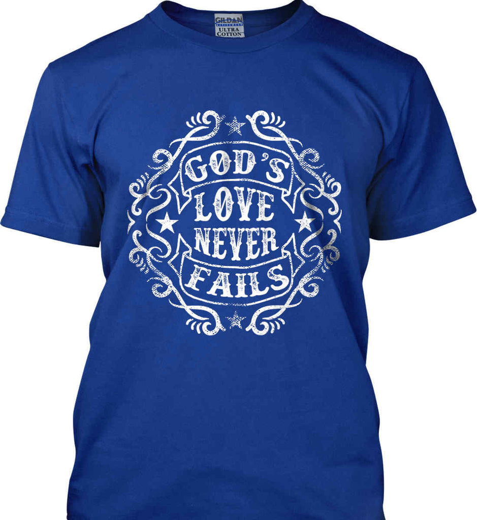 God's Love Never Fails. Gildan Tall Ultra Cotton T-Shirt.-5