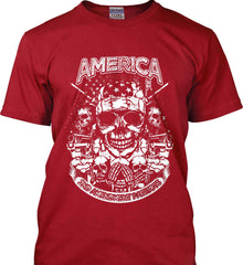 America. 2nd Amendment Patriots. White Print. Gildan Tall Ultra Cotton T-Shirt.