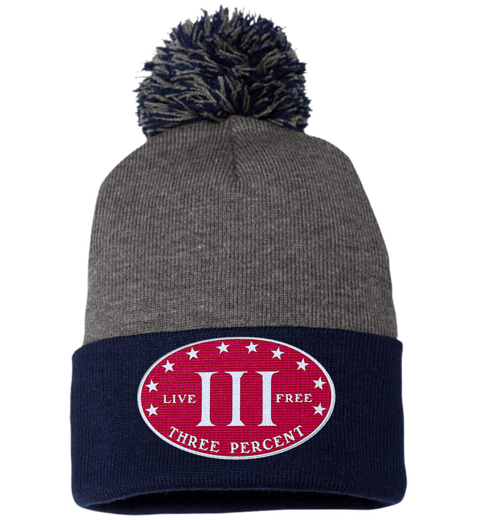Three Percenter. Live Free. Hat. Sportsman Pom Pom Knit Cap. (Embroidered)-5