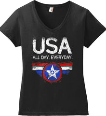 USA All Day Everyday. Women's: Anvil Ladies' V-Neck T-Shirt.